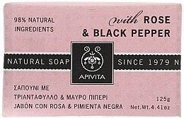 "Parfumuri și produse cosmetice Săpun ""Trandafir și Piper negru"" - Apivita Soap with Rose and Black pepper"