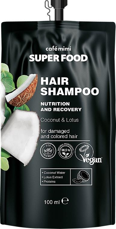 """Șampon pentru păr deteriorat și colorat """"Cocos și Lotus"""" - Cafe Mimi Super Food Shampoo"""