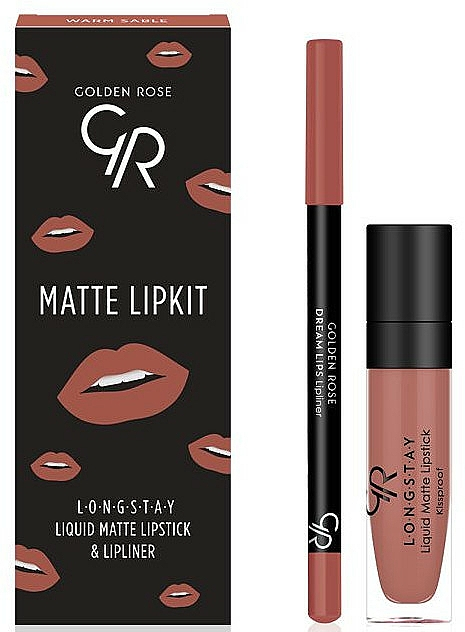 Set pentru buze - Golden Rose Matte LipKit Warm Sable (lipstick/5.5 ml + lipliner/1.4g) — Imagine N1