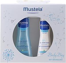 Parfumuri și produse cosmetice Set - Mustela Baby Boy Bavaglino Set Blue (gel/200ml + water/300ml + bib)