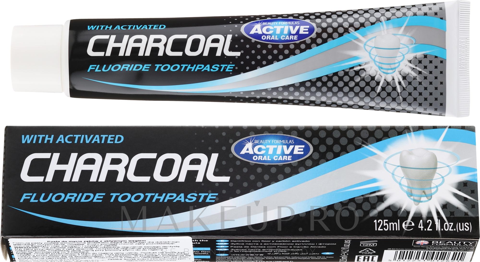 Pastă de dinți, cu cărbune activ - Beauty Formulas Charcoal Activated Fluoride Toothpaste — Imagine 125 ml