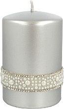 Parfumuri și produse cosmetice Lumânare decorativă, argintie, 7x10 cm - Artman Crystal Opal Pearl