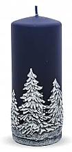 "Parfumuri și produse cosmetice Lumânare decorativă ""Christmas trees"", albastră, 7x14 cm - Artman Christmas Tree Candle"