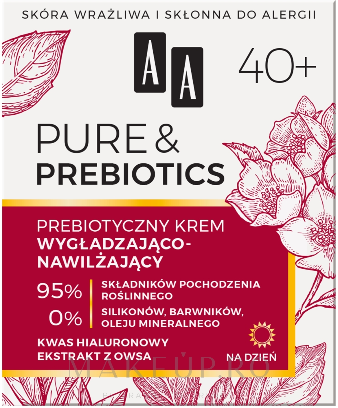 Cremă de zi pentru față 40+ - AA Pure & Prebiotics — Imagine 50 ml