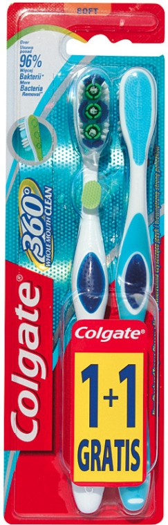 Periuță de dinți, moale - Colgate 360 Whole Mouth Clean Soft — Imagine N1