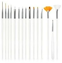 Parfumuri și produse cosmetice Set pensule pentru unghii, albe, 15 buc - Deni Carte