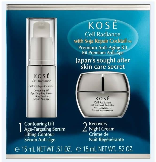 Set - KOSE Soja Repair Cocktail Cell Radiance Premium Anti-Aging Kit (serum/15ml+nihgt/cr/15ml) — Imagine N1