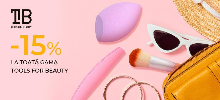 Reducere 15% la toată gama Tools For Beauty. Prețurile de pe site sunt indicate cu reduceri