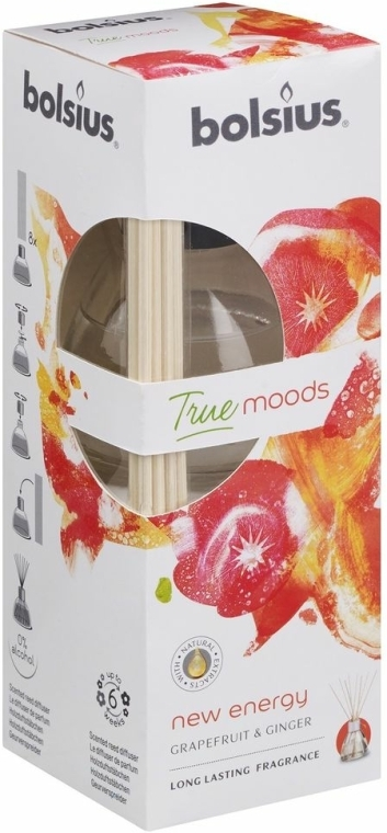 "Difuzor aromatic ""Grapefruit și ghimbir"" - Bolsius Fragrance Diffuser True Moods New Energy"