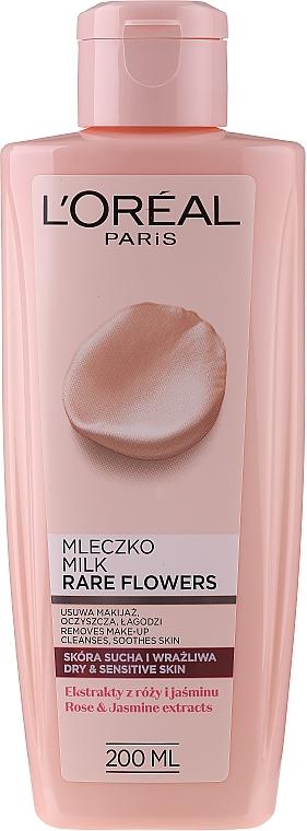 Lăptișor demachiant pentru pielea uscată și sensibilă - L'Oreal Paris Rare Flowers Cleansing Milk Dry and Sensative Skin