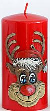 """Parfumuri și produse cosmetice Lumânare decorativă """"Rudolph"""", roșie, 7x10cm - Artman Christmas Candle Rudolf"""