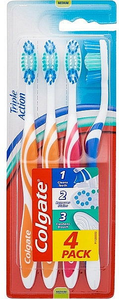 "Set periuțe de dinți ""Triple Action"", duritate medie, 4 bucăți - Colgate Triple Action Medium Toothbrush"