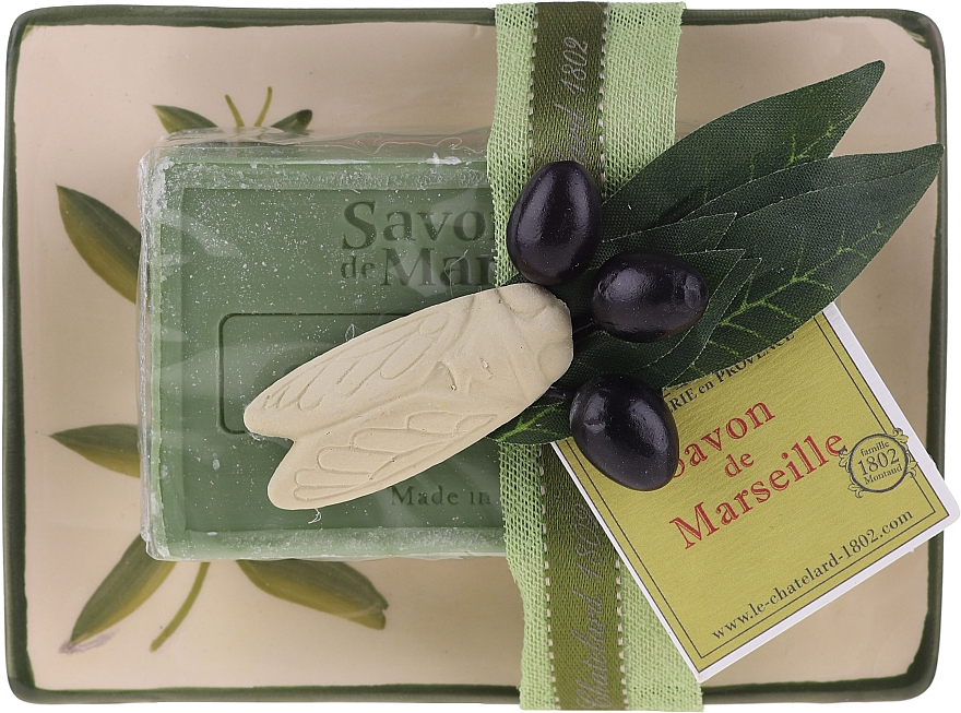 Săpun natural cu suport din ceramică - Le Chatelard Olive Soap — Imagine N1