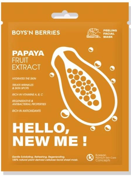Mască de față - Boys`n Berries Hello, New Me! Papaya Mask