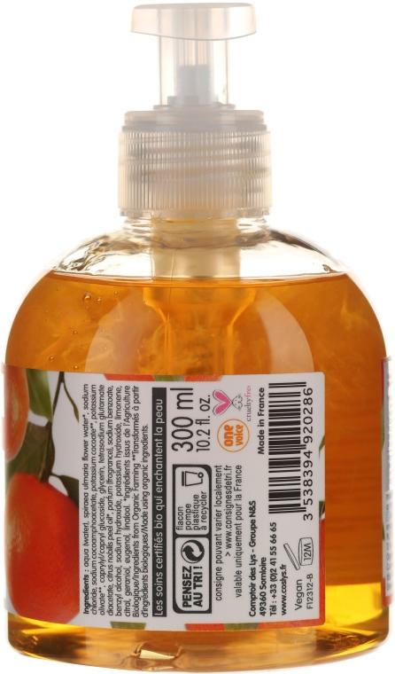 Săpun lichid Savon De Marseille cu ulei de măsline și mandarină organică - Coslys Marselle soap Mandarin fragrance — Imagine N2