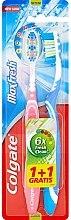 """Parfumuri și produse cosmetice Set de perii de dinți de duritate medie """"Max Fresh"""", albastru și roz - Colgate Max Fresh Medium (2buc)"""