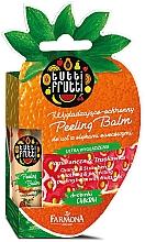 """Parfumuri și produse cosmetice Balsam de buze """"Portocală și căpșuni"""" - Farmona Tutti Frutti Peeling Lip Balm Orange & Strawberry"""