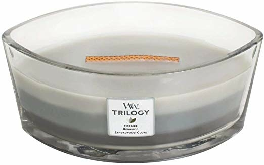 Lumânare aromată în suport de sticlă - Woodwick Hearthwick Flame Ellipse Trilogy Candle Warm Woods — Imagine N1