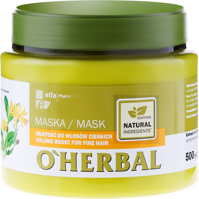 Mască cu efect de volum pentru părul fin cu extract de arnica - O'Herbal — Imagine N1