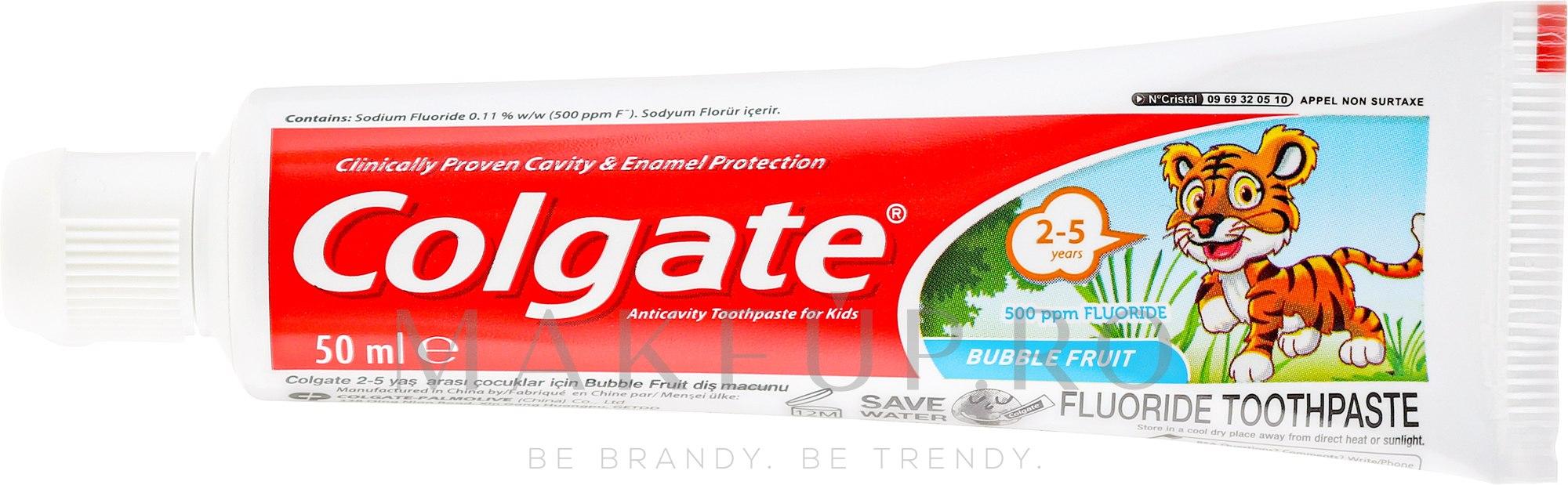 Pastă de dinți pentru copii, 2-3 ani - Colgate Toddler Bubble Fruit Anticavity Toothpaste For 2-5 Years Kids — Imagine 50 ml