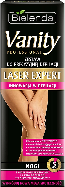 """Set """"Pentru o epilare sigură a picioarelor"""" - Bielenda Vanity Laser Expert (cr/100ml + balm/2x5g + blade) — Imagine N1"""