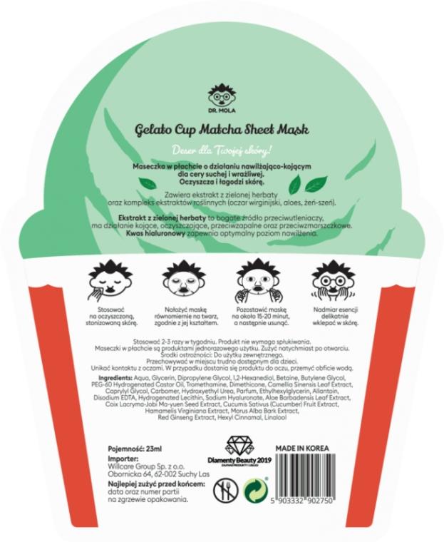 Mască de față - Dr. Mola Matcha Gelato Cup Sheet Mask — Imagine N2