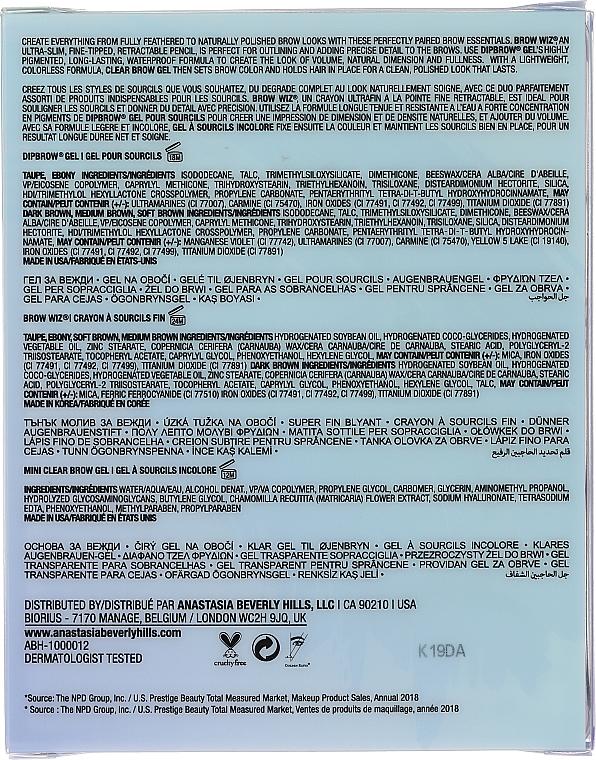 Set - Anastasia Beverly Hills Best Brows Ever Kit Soft Brown (pencil/0.08g + gel/2.5ml + gel/2.2g) — Imagine N2