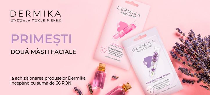La achiziționarea produselor Dermika,  începând cu suma de 66 RON,  primești în dar două măști faciale