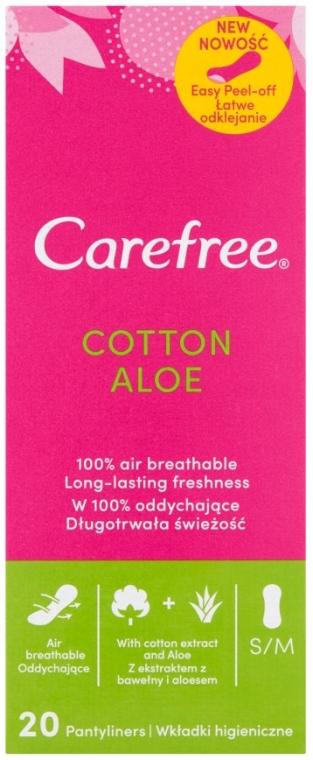 Absorbante pentru uz zilnic, cu extract de aloe, 20 buc. - Carefree Cotton Aloe — Imagine N1