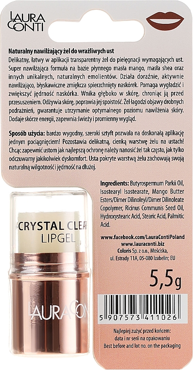 Gel de buze - Laura Conti Crystal Clear Hydro Lip Gel — Imagine N2
