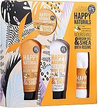 Parfumuri și produse cosmetice Set - Dirty Works Happy Naturals (sh/gel/100ml + b/butter/100ml + scrub/100ml + flannel/towel)
