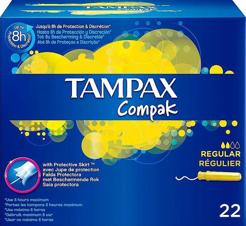 Tampoane cu aplicator, 22 buc - Tampax Compak Regular — Imagine N1