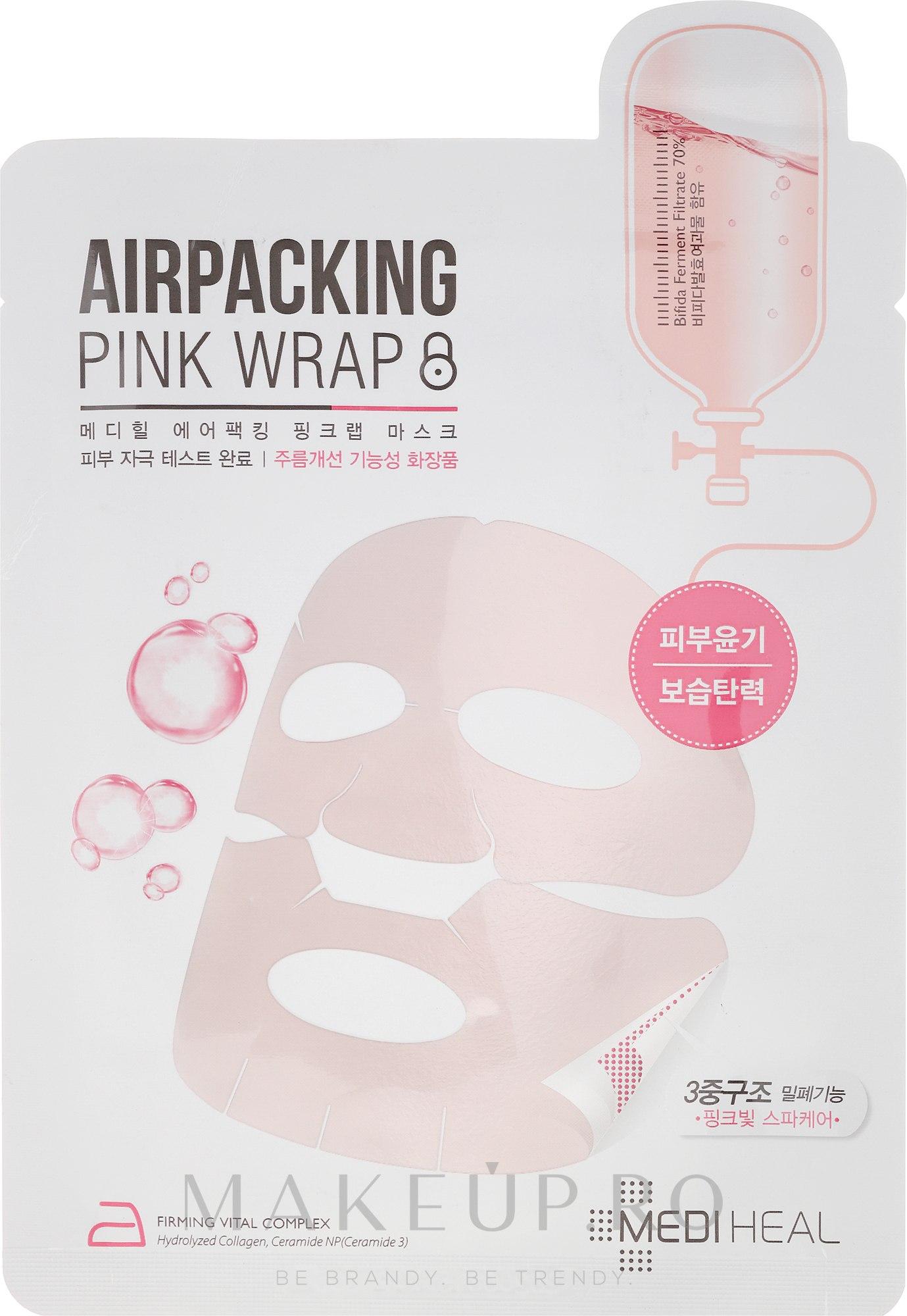 Mască de țesut pentru față - Mediheal Airpacking Pink Wrap Sheet Mask — Imagine 20 ml