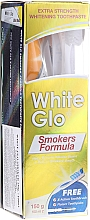 Set, perie albastră - White Glo Smokers Formula (toothpaste/100ml + toothbrush + toothpicks) — Imagine N1