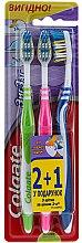 "Parfumuri și produse cosmetice Set ""ZigZag"" duritate medie, verde deschis + roz + albastru - Colgate Medium Toothbrush"