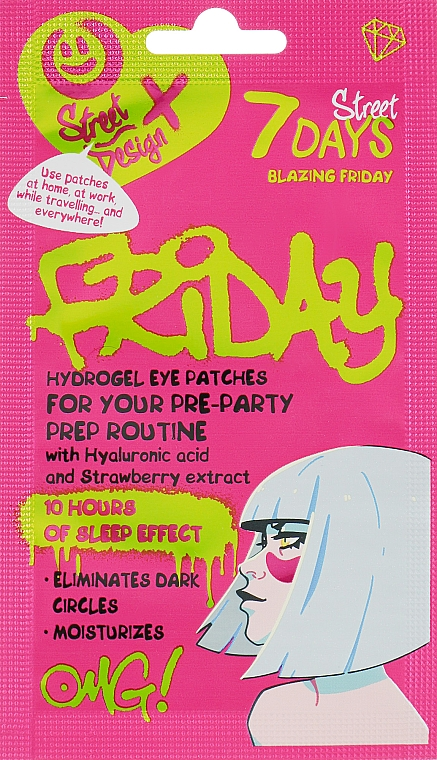 "Patch-uri hidrogel ""Blazing Friday"" cu acid hialuronic și extract de căpșuni - 7 Days Hydrogel Eye Patches"