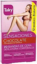 Parfumuri și produse cosmetice Benzi depilatoare de ceară pentru corp - Taky Chocolate Body Wax Strips With Orange Fragrance Box