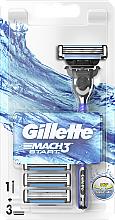 Parfumuri și produse cosmetice Aparat de ras clasic cu 3 rezerve incluse - Gillette Mach 3 Turbo Start
