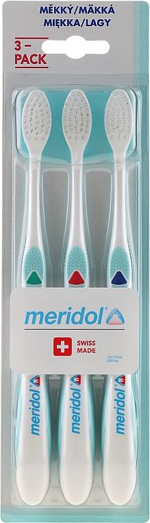 Set periuțe de dinți, moi, 3 buc. verde+roșu+albastru - Meridol Gum Protection Soft Toothbrush — Imagine N1