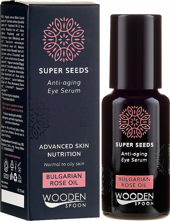 Ser pentru ochi - Wooden Spoon Super Seeds Bulgarian Rose Oil Anti-aging Eye Serum — Imagine N1