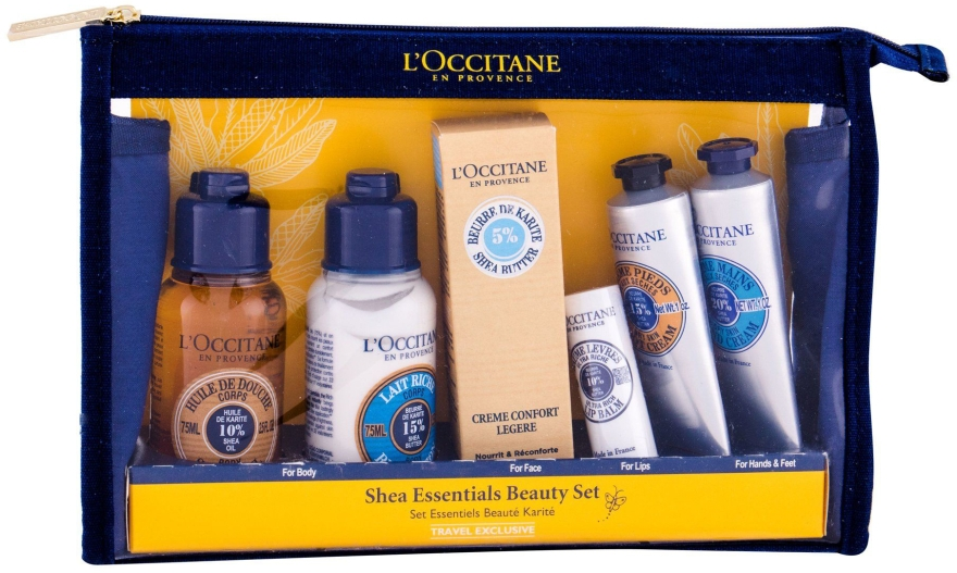 Set - L'Occitane Shea Butter Essentials Beauty Set (sh/oil/75ml+b/lot/75ml+cr/30ml+lip/balm/12ml+h/cr/30ml+foot/cr/30ml+bag) — Imagine N1