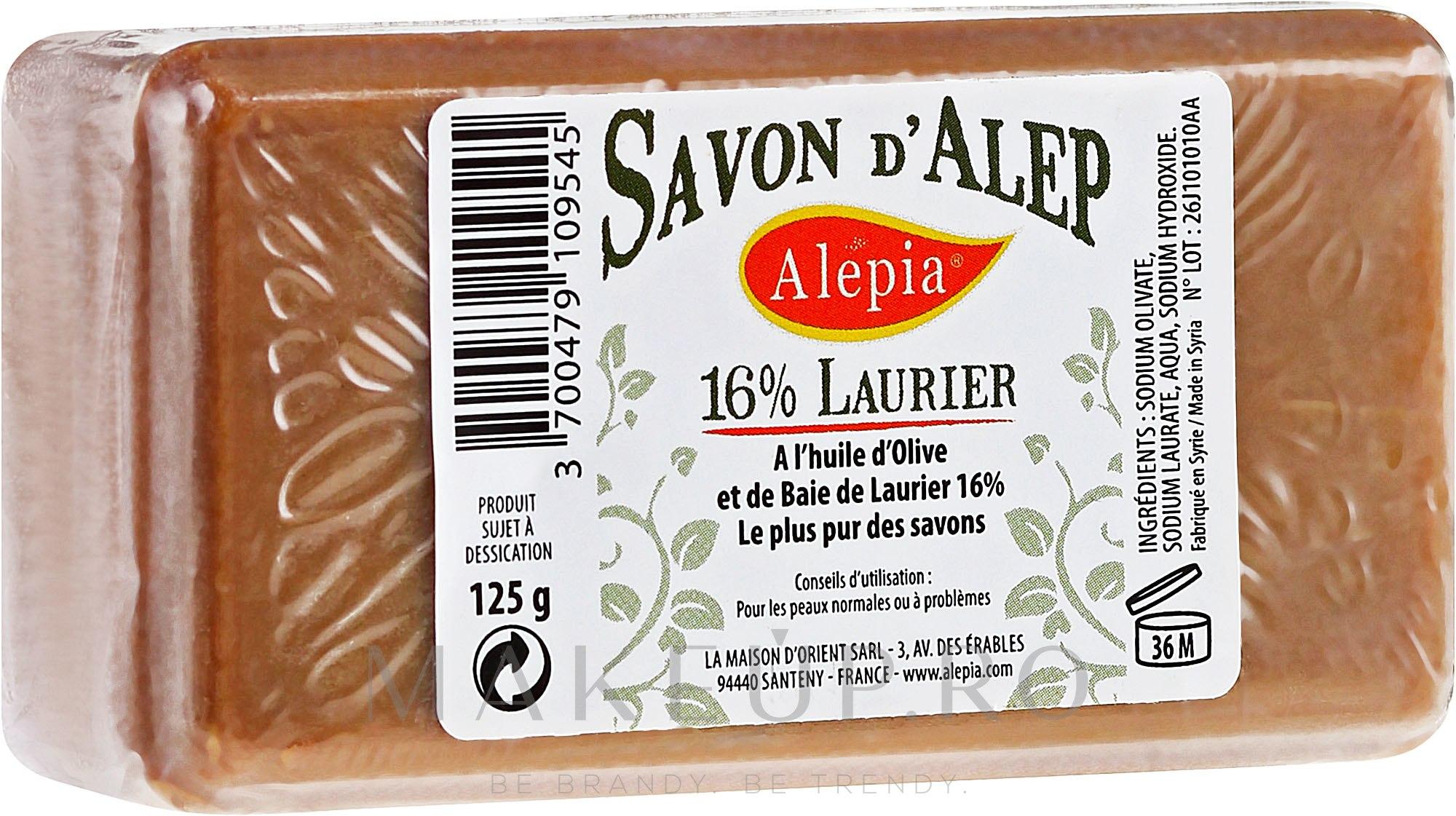 Săpun cu ulei de dafin, 16% - Alepia Soap 16% Laurel — Imagine 125 g