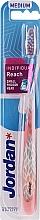 Parfumuri și produse cosmetice Periuță de dinți, medie cu capac de protecție, roz cu design - Jordan Individual Reach Toothbrush