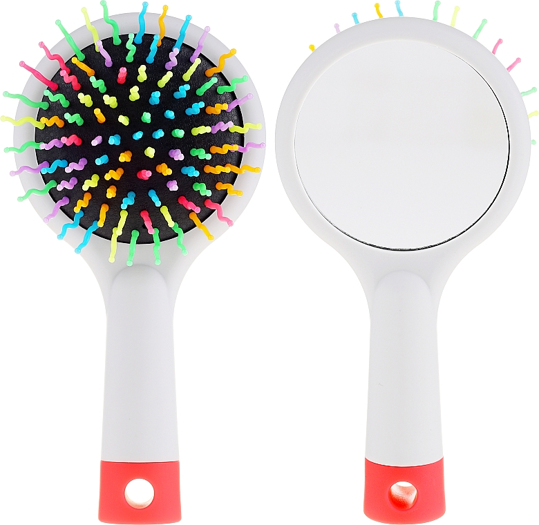 Perie cu oglindă pentru păr, gri - Twish Handy Hair Brush with Mirror Light Grey