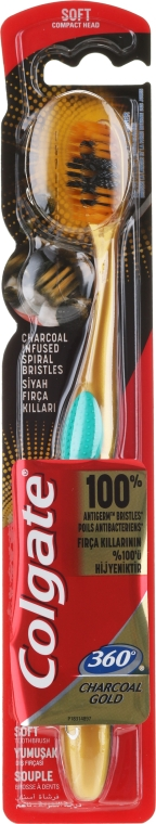 Periuță de dinți, moale, aurie cu turcoaz - Colgate 360 Charcoal Gold Soft Toothbrush — Imagine N1