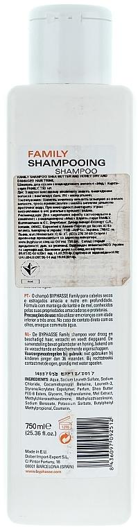 Șampon pentru păr uscat și deteriorat cu miere și unt de shea - Byphasse Family Shampoo Shea Butter and Honey Dry And Damaged Hair — Imagine N2