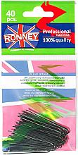 Parfumuri și produse cosmetice Set agrafe de păr, drepte, negre 45 mm, 40 buc. - Ronney Professional Black Hair Pins
