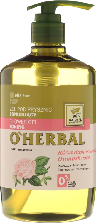 Gel de duș tonifiant cu extract de Trandafir Damasc - O'Herbal Toning Shower Gel — Imagine N1