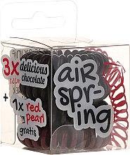 Parfumuri și produse cosmetice Set elastic de păr, 4 buc., ciocolată+roșu - Hair Springs