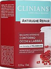 Parfumuri și produse cosmetice Cremă-balsam împotriva primelor riduri cu extract de rodie pentru ochi și buze - Clinians Antirughe Quotidiana